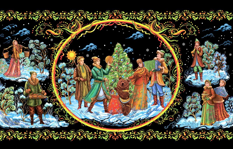 Photo wallpaper Christmas, New year, painting, Palekh miniature, Palekh