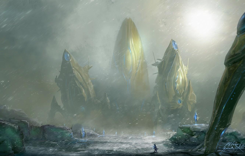 Photo wallpaper snow, art, crystals, Blizzard, giant, Heart of the Swarm, sooruzhenie, StarCraft