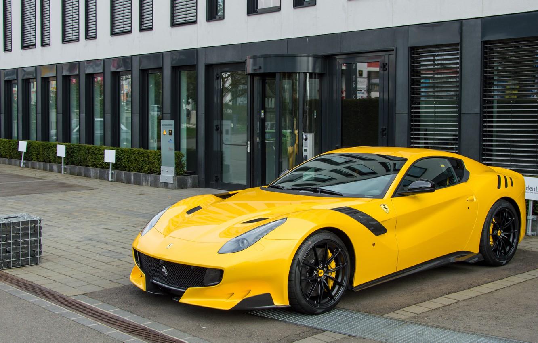 Photo wallpaper Ferrari, yellow, F12, tdf