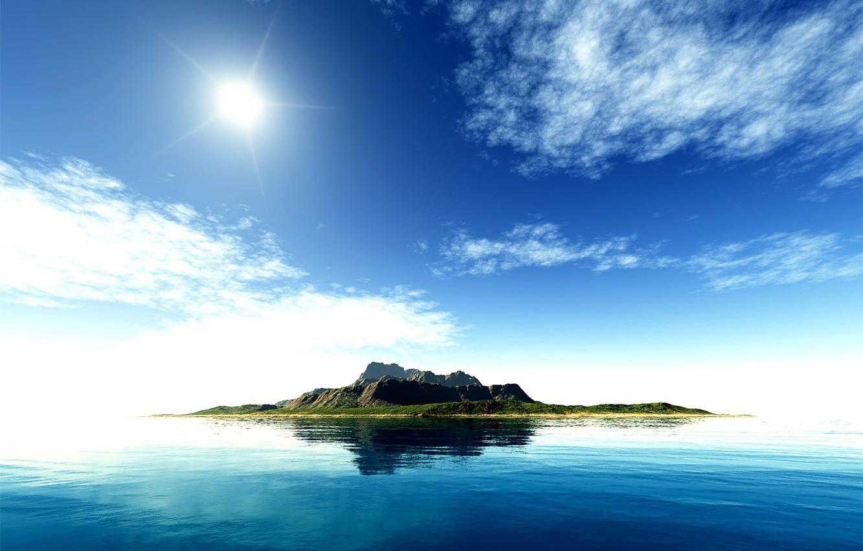 Photo wallpaper sea, the sky, water, the sun, blue-green garbage, Islands