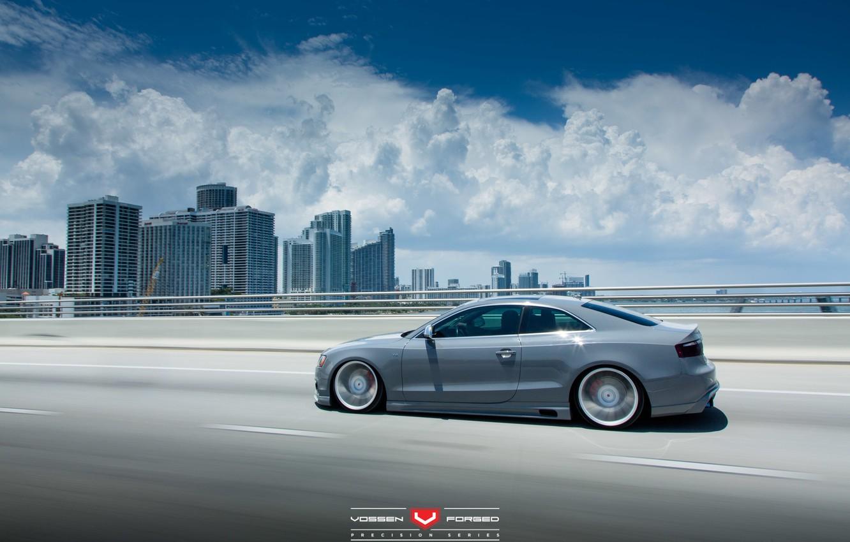 Photo wallpaper road, machine, auto, clouds, Audi, Audi, wheels, drives, auto, Vossen Wheels