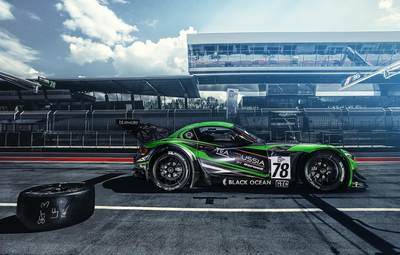 Photo wallpaper sport, BMW, track, GT3, BMW Z4, pit stop