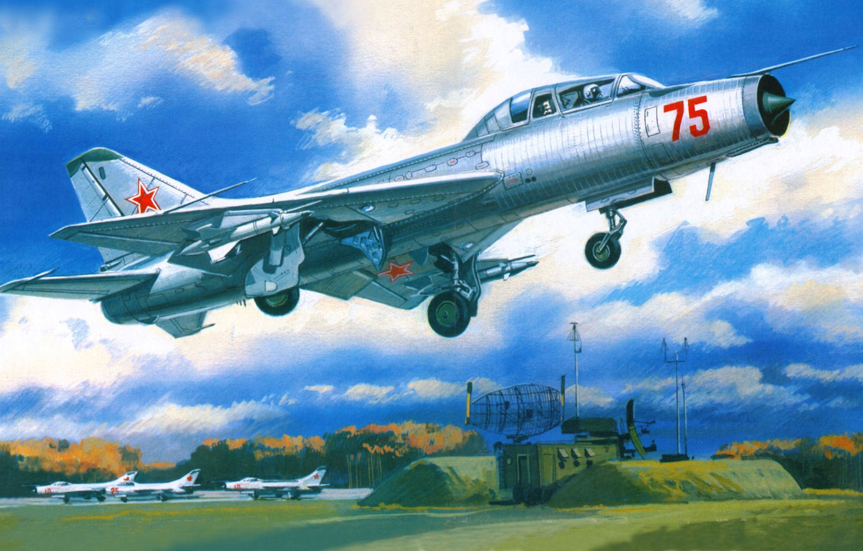 Photo wallpaper the airfield, the rise, radar, fighter-interceptor, Su-9U, Maiden