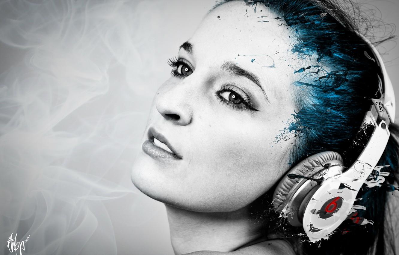 Photo wallpaper girl, music, headphones