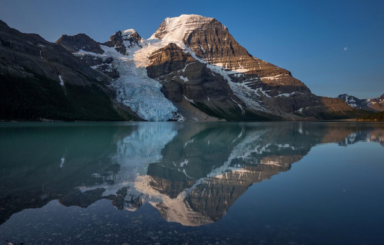 Photo wallpaper snow, mountains, lake, reflection, rocks, Canada, Berg Lake, Mount Robson Provincial Park