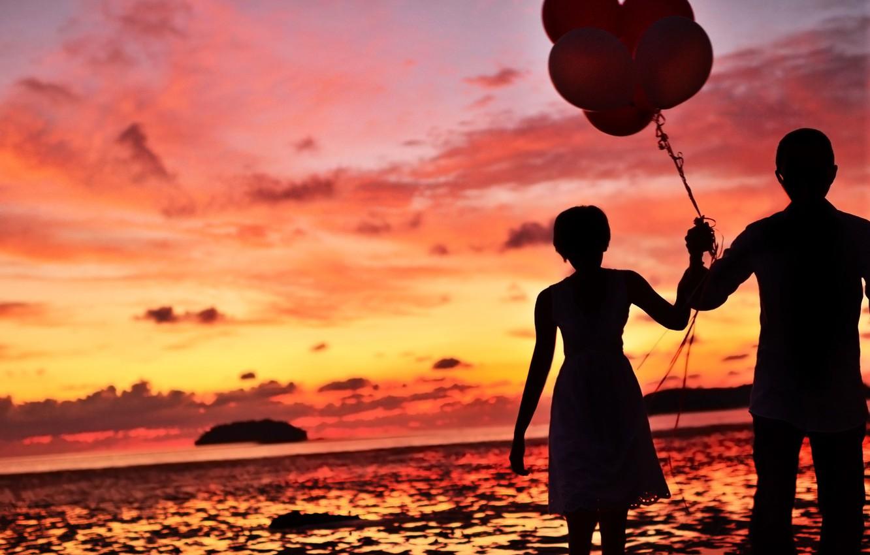 Photo wallpaper sea, wave, the sky, water, girl, clouds, balls, love, sunset, background, widescreen, balls, Wallpaper, mood, …