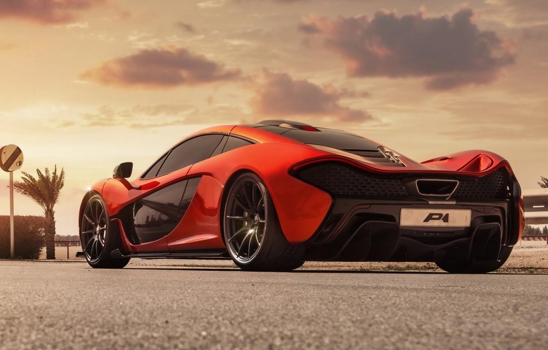 Photo wallpaper Concept, clouds, orange, McLaren, the concept, supercar, rear view, McLaren