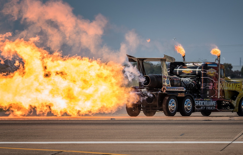 Photo wallpaper fire, flame, turbine, truck, tractor, Peterbilt