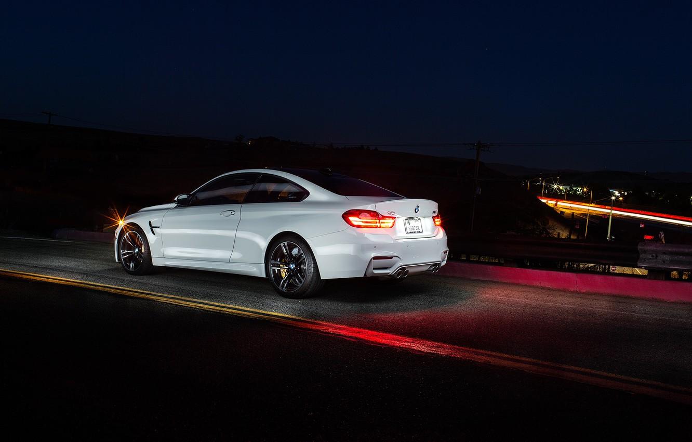 Photo wallpaper white, night, BMW, BMW, white, Coupe, rear, F82