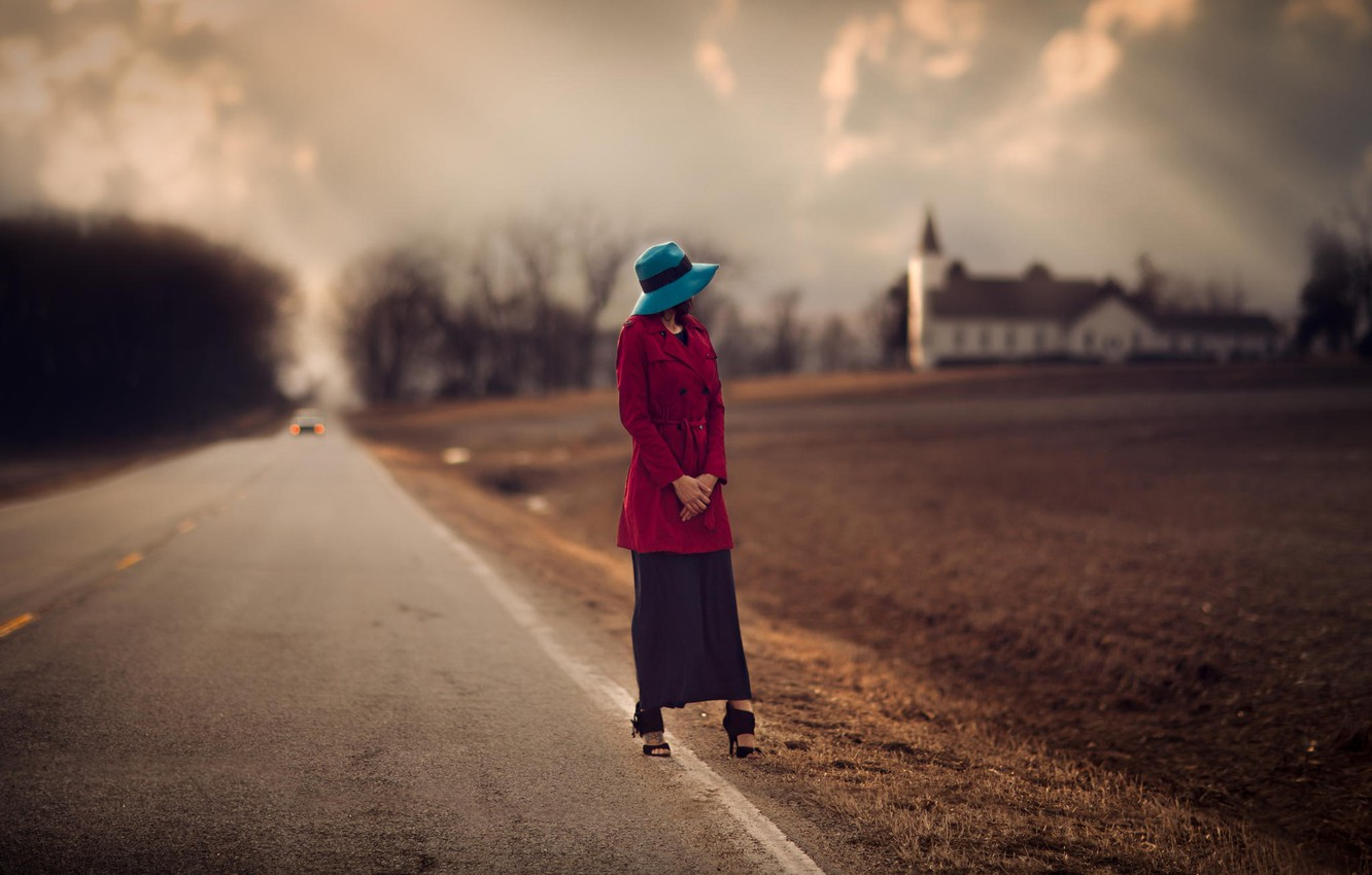 Photo wallpaper road, girl, blur, Church, hat, roadside, arable land