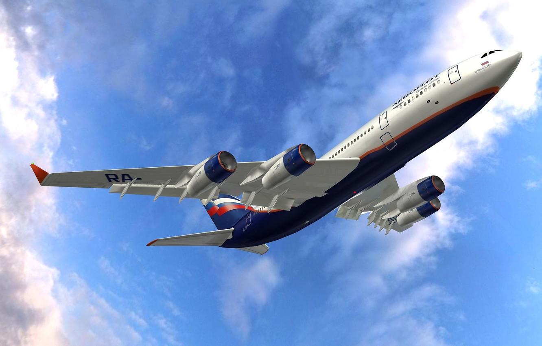 Photo wallpaper the sky, engine, wings, flight, the plane, the rise, passenger, Ilyushin, The Il-96