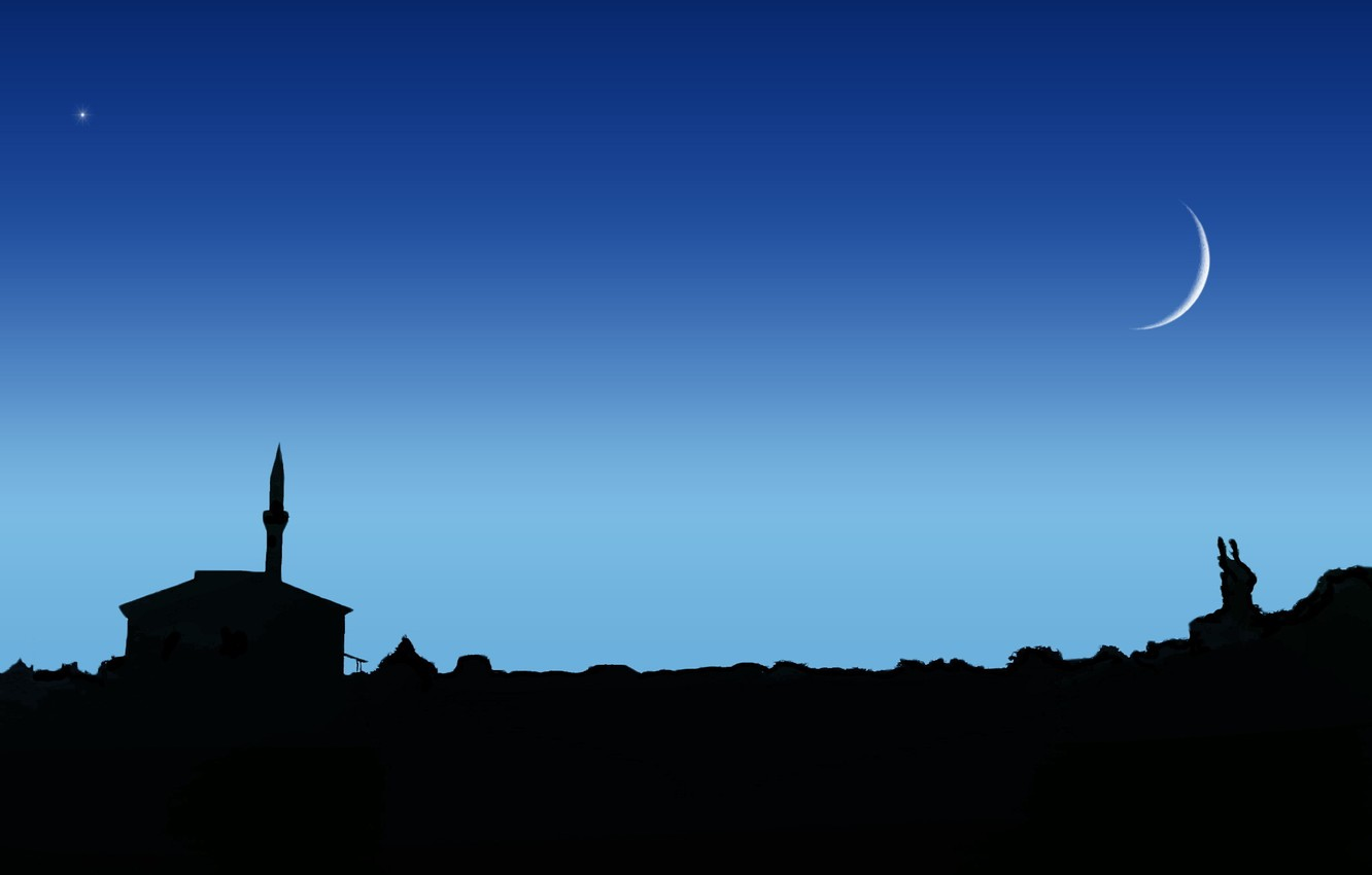 Photo wallpaper the sky, night, the moon, star, mosque