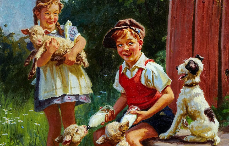 Photo wallpaper children, dog, boy, girl, Summer, children, feeding, lambs