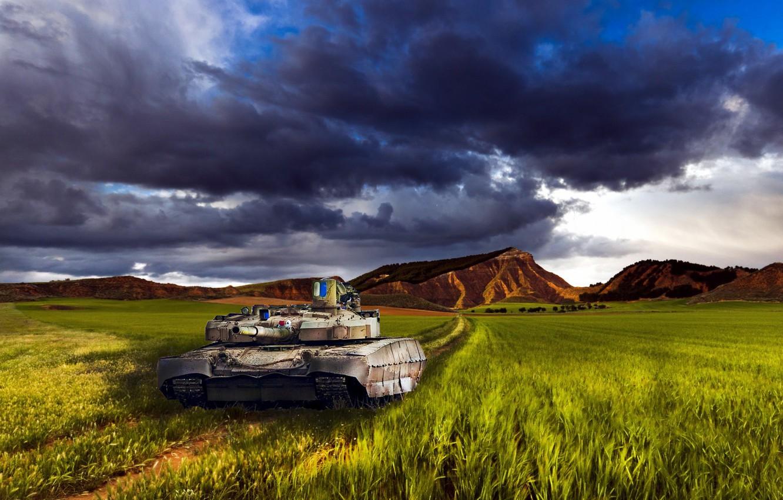 Photo wallpaper Landscape, Tank, Ukraine, Stronghold