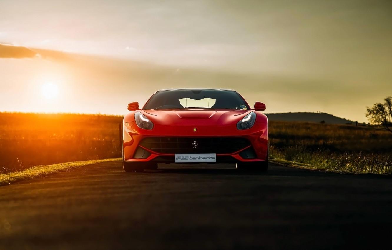 Photo wallpaper Ferrari, Red, Front, Sunset, Africa, South, Supercar, Berlinetta, F12