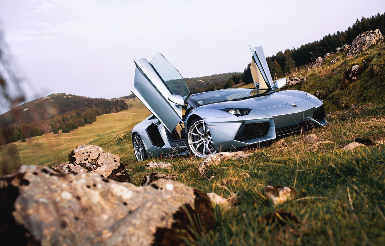 Photo wallpaper Roadster, Lamborghini, Nature, Front, LP700-4, Aventador, Supercars, Silver, Door