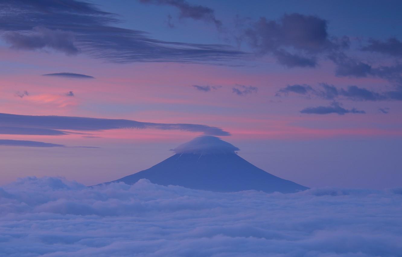 Photo wallpaper the sky, clouds, sunset, mountain, the evening, the volcano, Japan, pink, Fuji, Honshu, Fuji, lilac, …