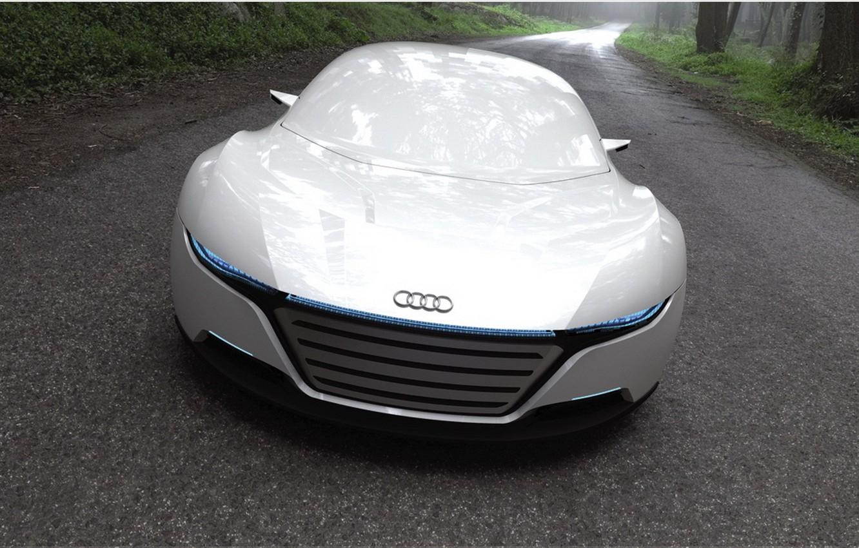 Photo wallpaper road, Audi, lights, beauty, the concept
