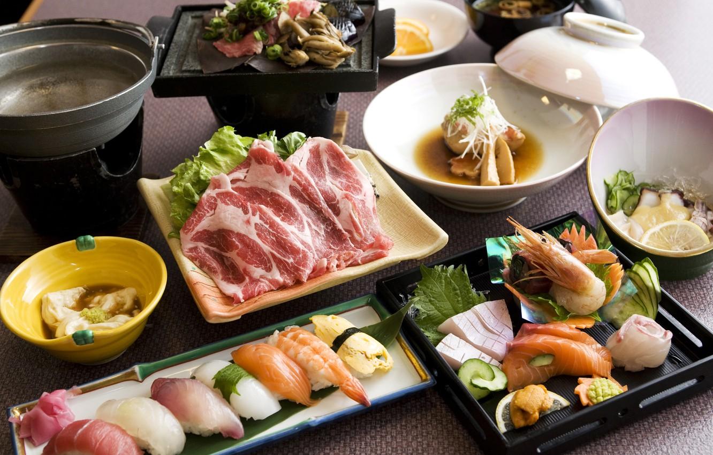 Photo wallpaper food, fish, Japan, kitchen, sushi