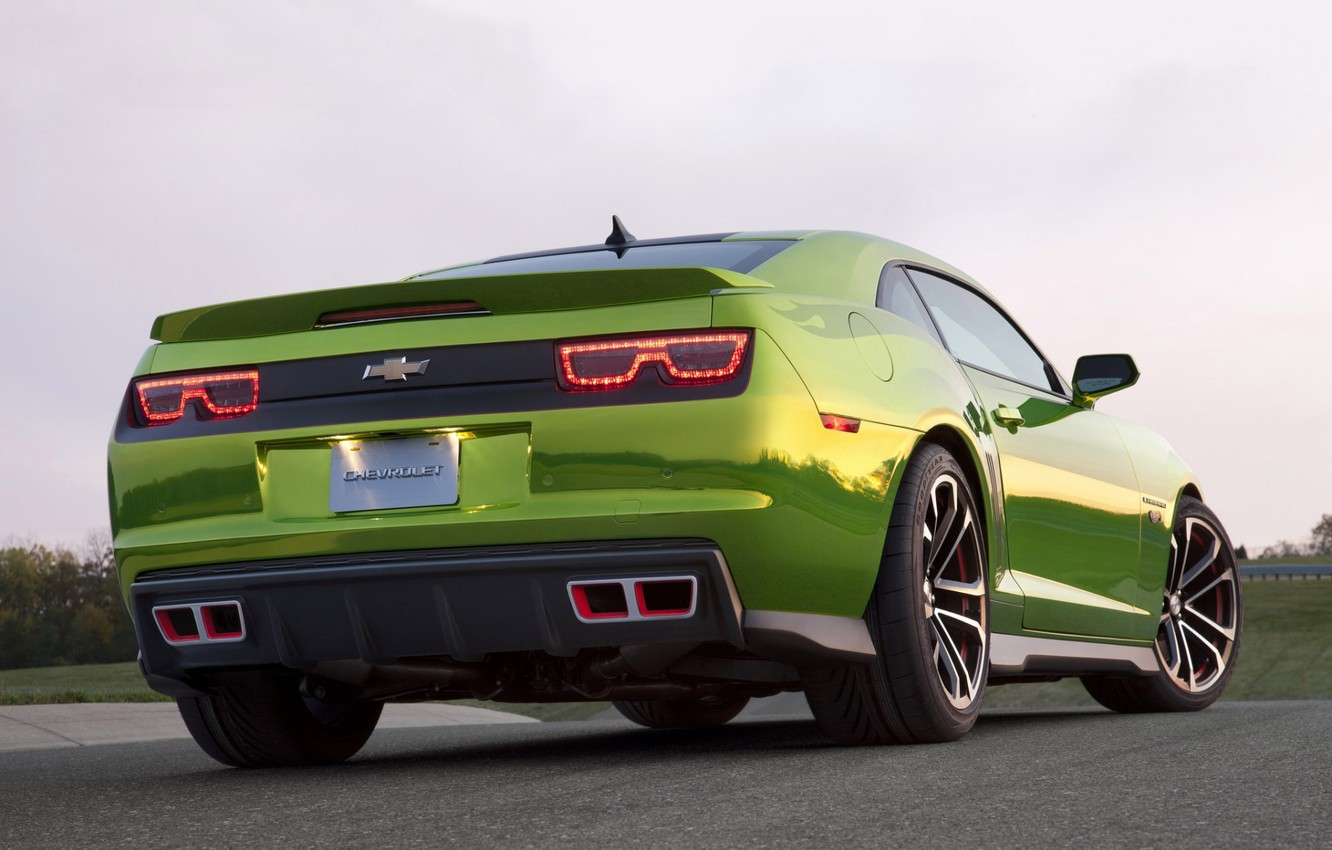 Photo wallpaper the sky, tuning, concept, the concept, green, Chevrolet, muscle car, camaro, rear view, chevrolet, tuning, …