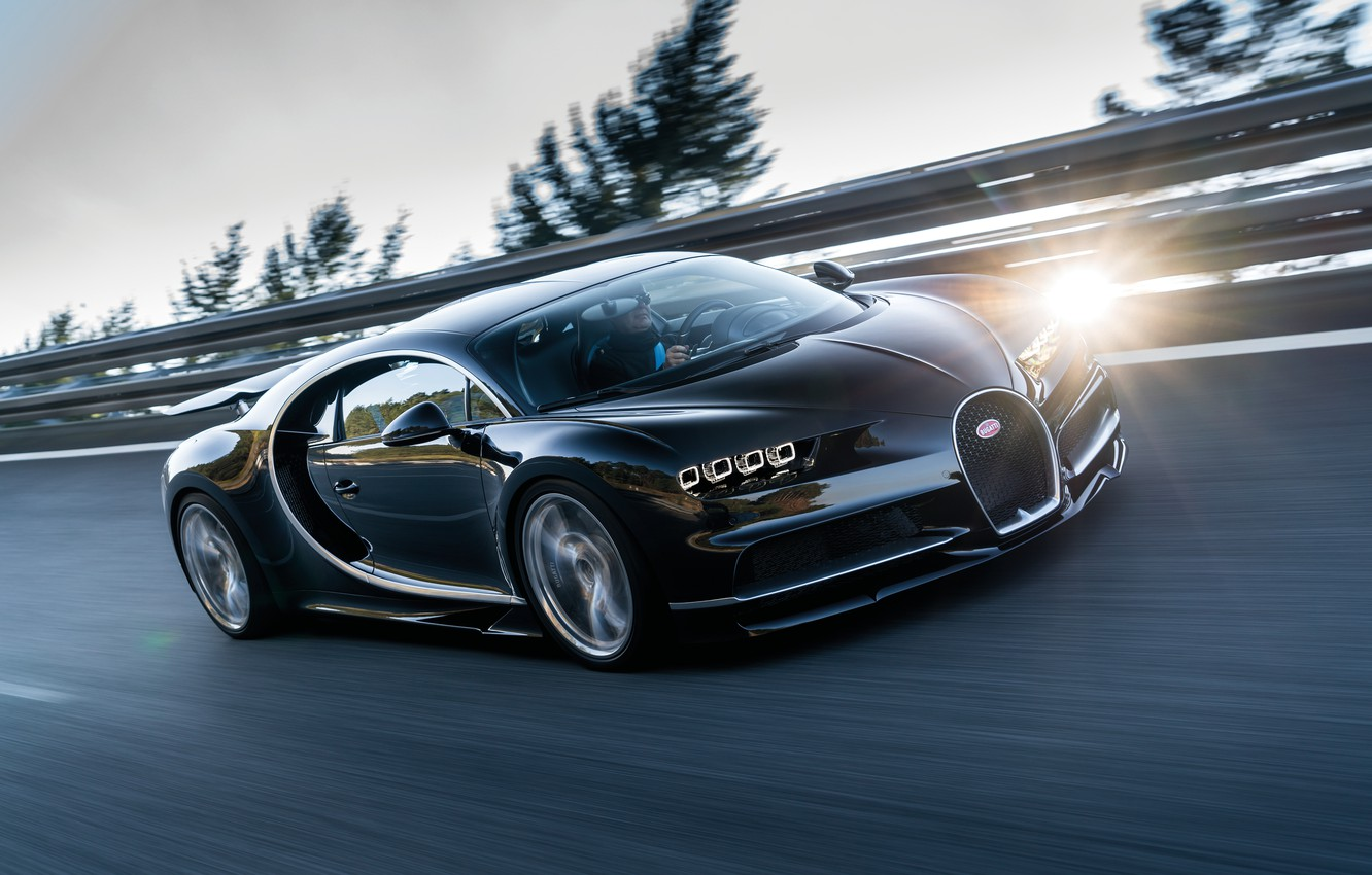 Photo wallpaper movement, speed, track, Bugatti, driver, 2016, Chiron