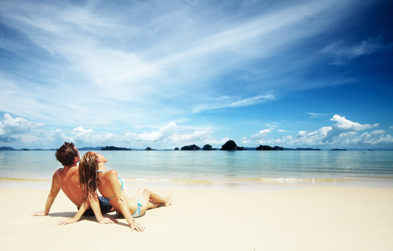 Photo wallpaper sand, sea, beach, girl, clouds, pair, surf, guy