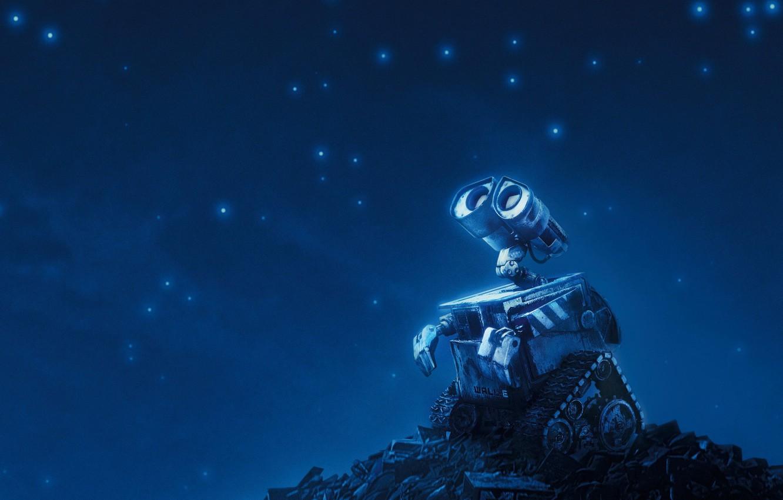 Photo wallpaper stars, blue, Valley, robot, WALLE