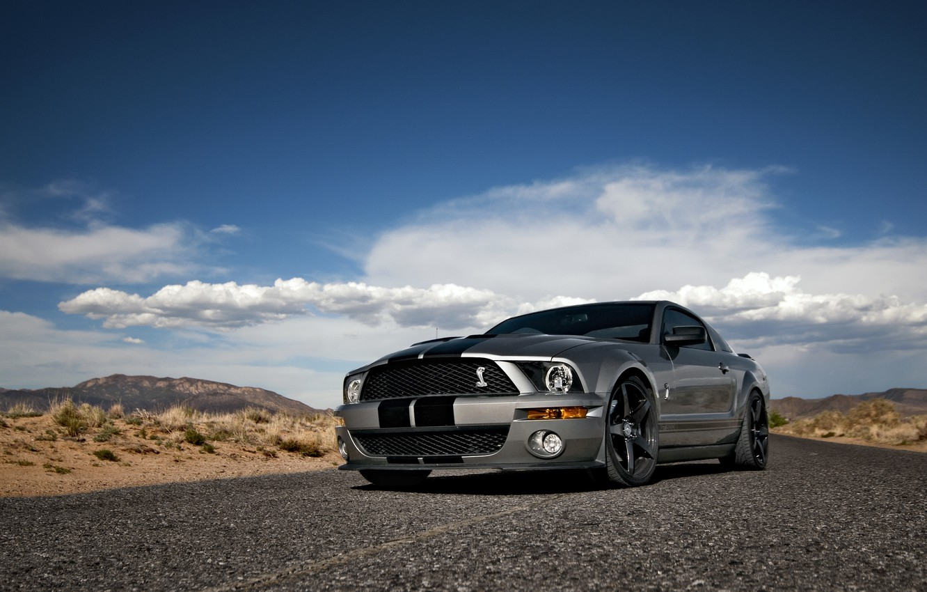 Photo wallpaper the sky, clouds, Mustang, Ford, Shelby, GT500, Mustang, silver, muscle car, Ford, Shelby, muscle car, …