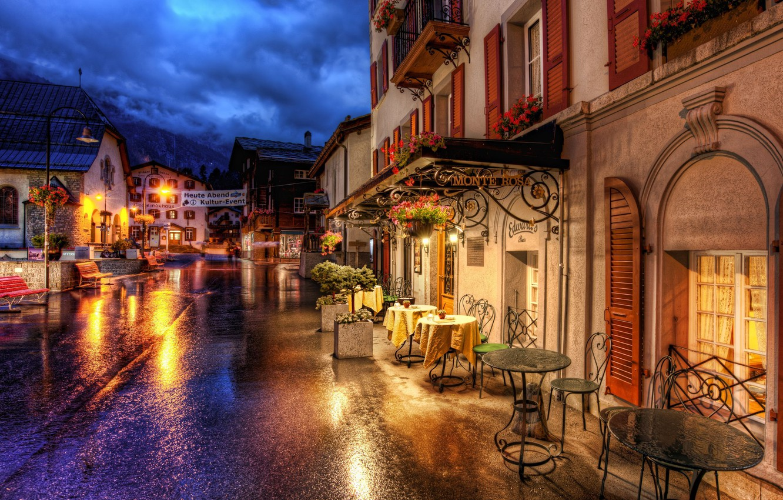 Photo wallpaper road, street, building, home, Switzerland, cafe, Switzerland, tables, Zermatt, Zermatt