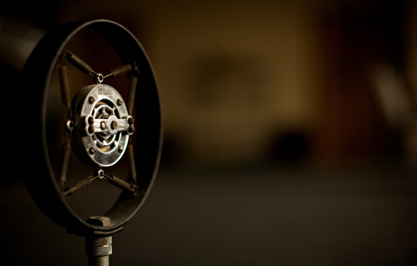 Photo wallpaper retro, music, old, microphone, stand, microphones