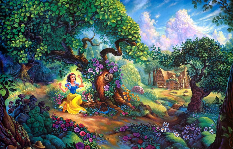Photo wallpaper flowers, house, forest, cartoon, painting, Walt Disney, Snow Whites Magical Forest, Snow Whites, Tom duBois