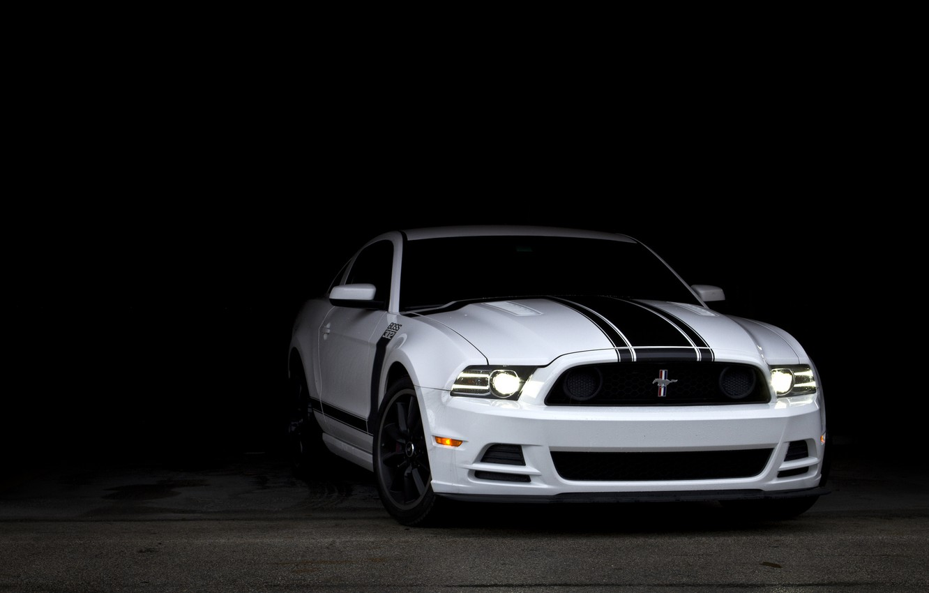 Photo wallpaper white, Mustang, Ford, shadow, Mustang, Boss 302, white, muscle car, Ford, muscle car, racing stripes