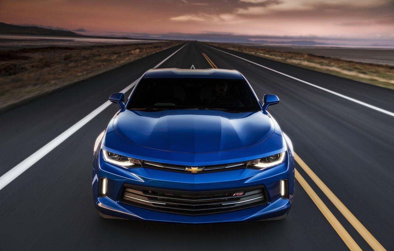 Photo wallpaper sunset, blue, sunrise, speed, Chevrolet, camaro, chevrolet, Camaro