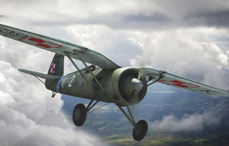 Photo wallpaper the sky, figure, art, fighter-monoplane, single-engine, WW2, Polish, PZL P.11