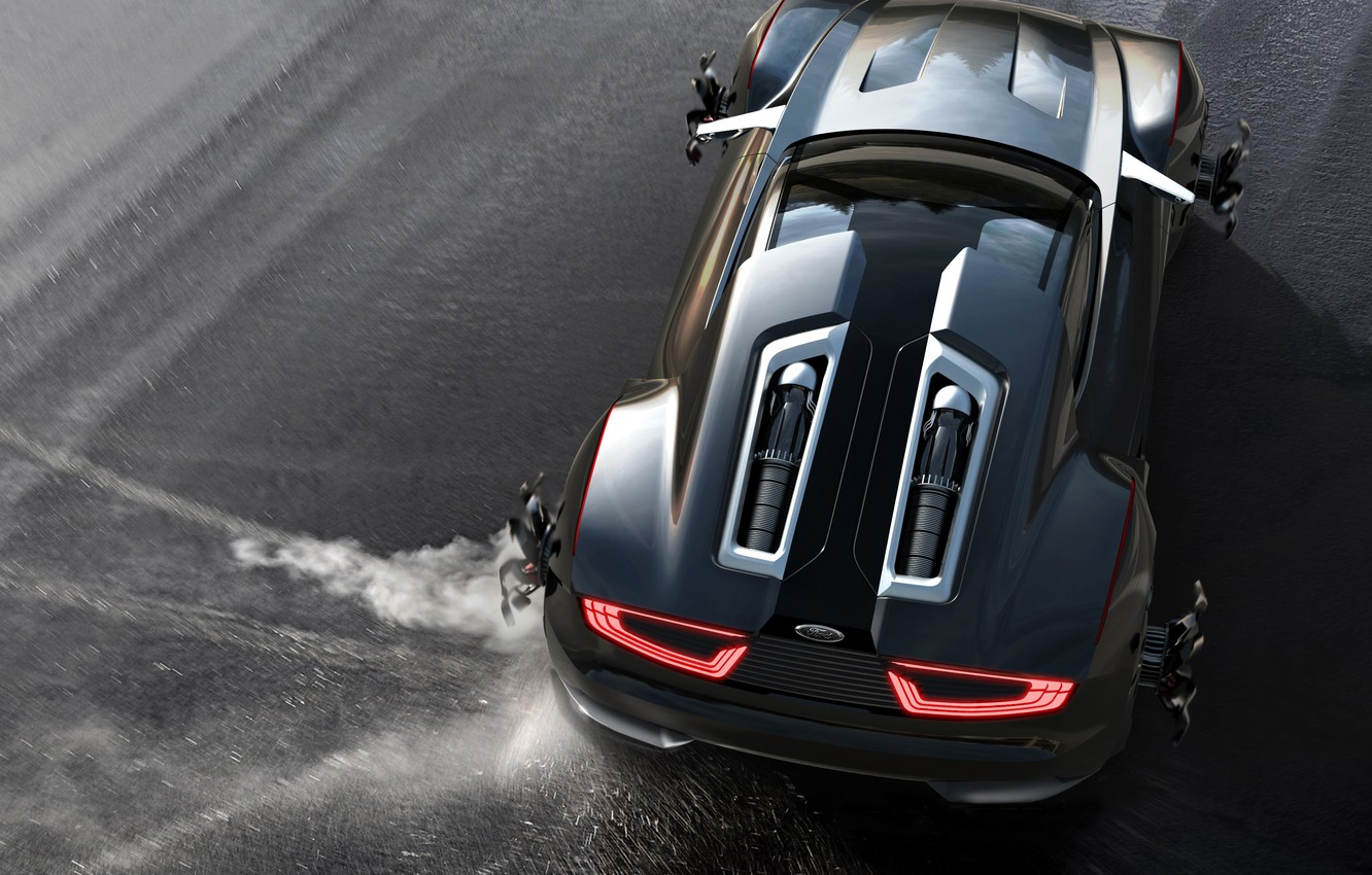 Photo wallpaper Concept, black, color, Ford, skid, sports car, drives, wheel