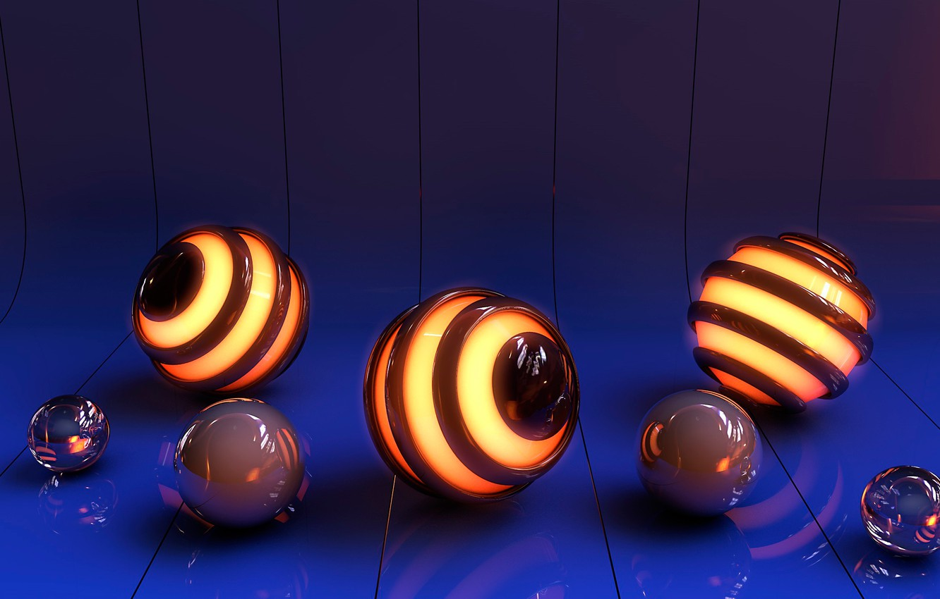 Photo wallpaper surface, line, glare, reflection, rendering, graphics, ball, glow, bending, sphere, reflections