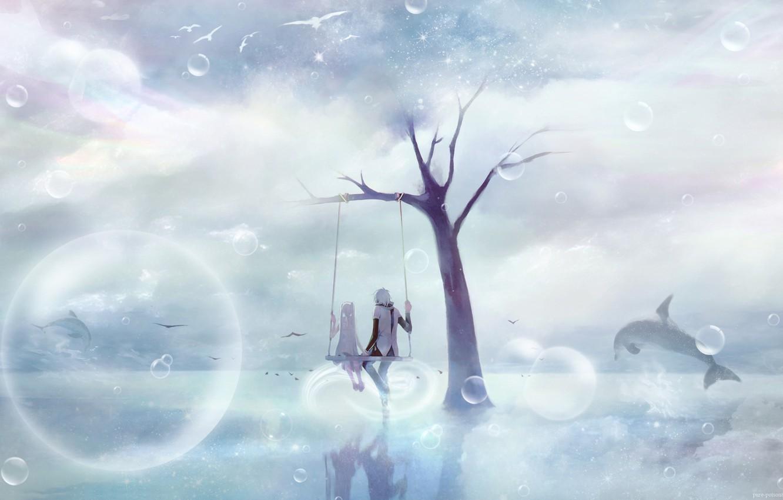 Photo wallpaper the sky, swing, pair
