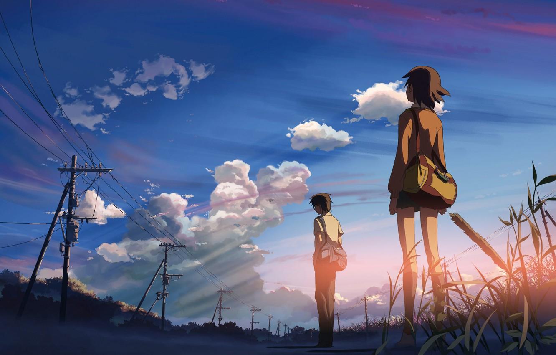 Photo wallpaper the sky, sunset, relationship, 5 centimeters per second, Makoto Xingkai