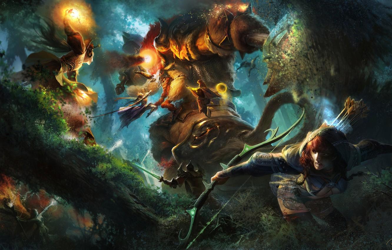 Photo wallpaper forest, girl, fire, magic, monster, warrior, Archer, fantasy, art, MAG, battle, giant