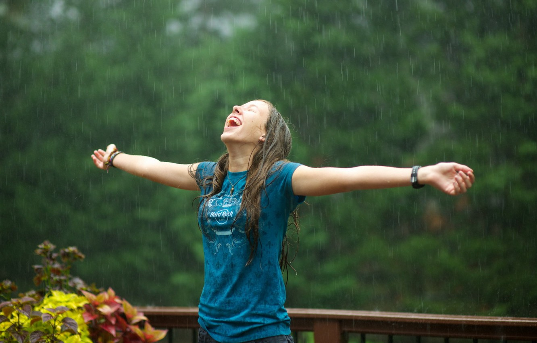 Photo wallpaper girl, rain, mood