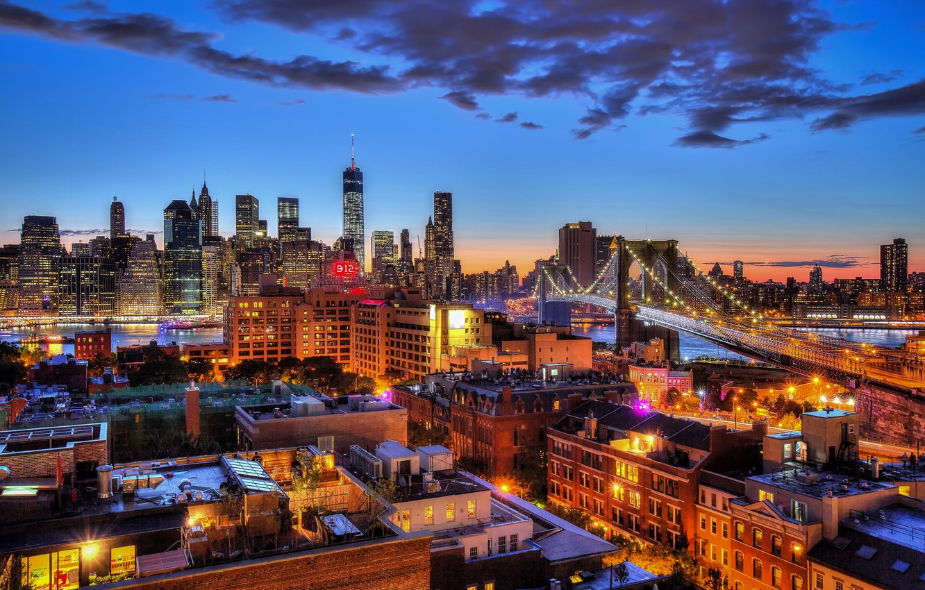 Photo wallpaper the sky, clouds, lights, New York, Brooklyn bridge, twilight, Manhattan, One World Trade Center, United ...