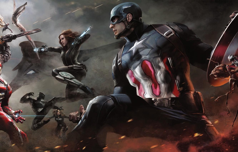 Wallpaper Scarlett Johansson, Vision, Iron Man, Falcon