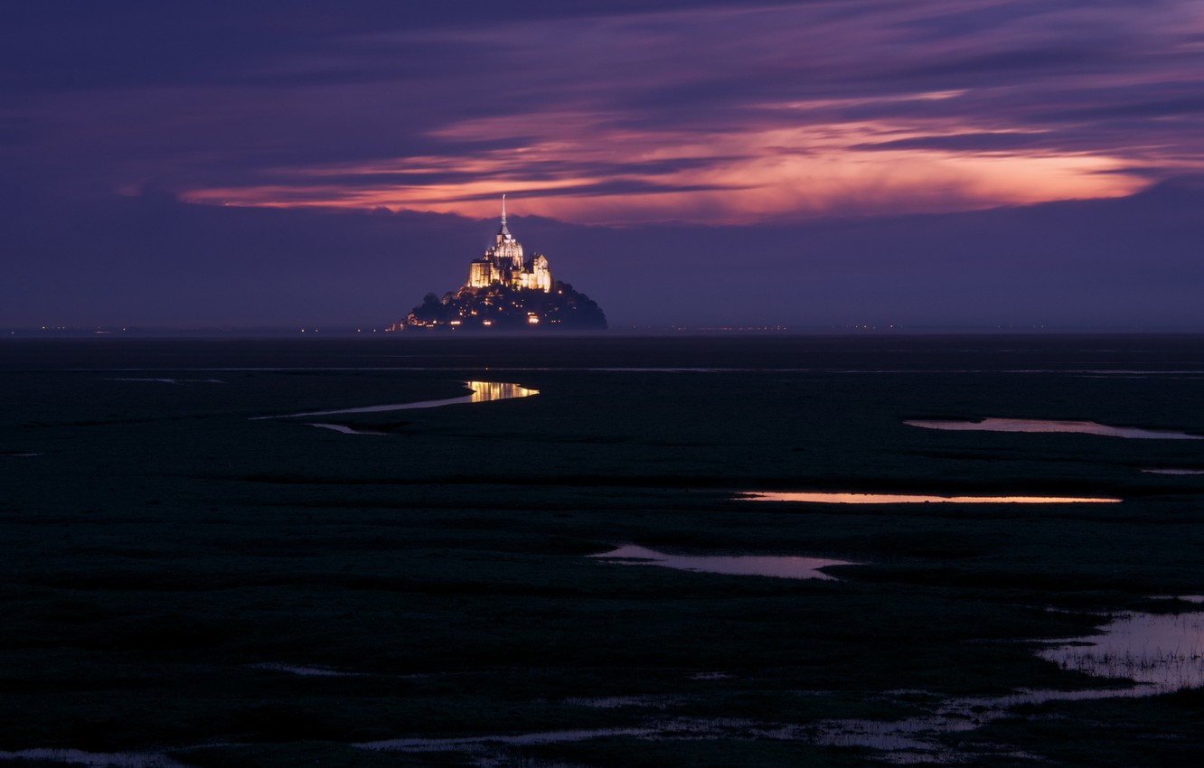 Photo wallpaper the sky, France, island, backlight, fortress, twilight, purple, Mont-Saint-Michel, Mont Saint-Michel, the mountain of the …