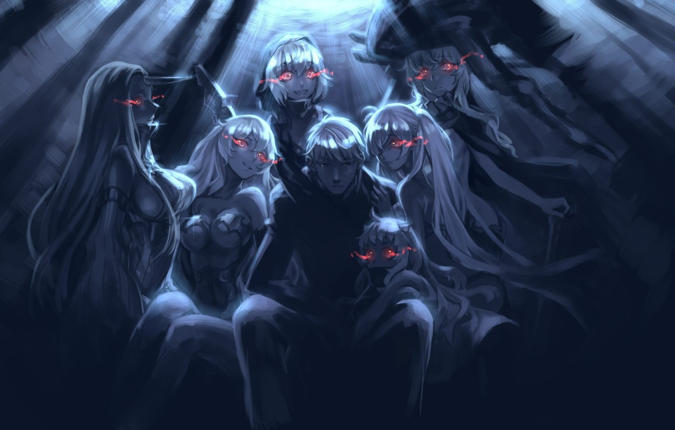 Photo wallpaper twilight, depth, monsters, guy, gang, demons, burning eyes, Kantai Collection, Seaport Hime, Northern Ocean Hime