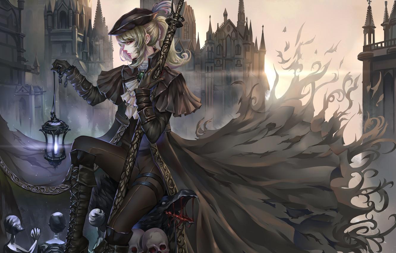 Photo wallpaper sake, girl, fantasy, cathedral, hat, crow, anime, art, gothic, coat, buildings, artwork, lantern, cape, Bloodborne