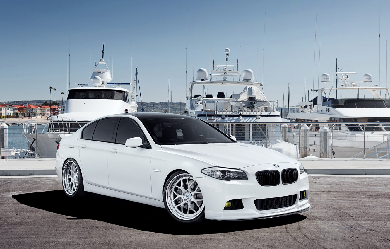 Photo wallpaper BMW, yachts, BMW, pier, white, white, the front part, F10, 5 Series