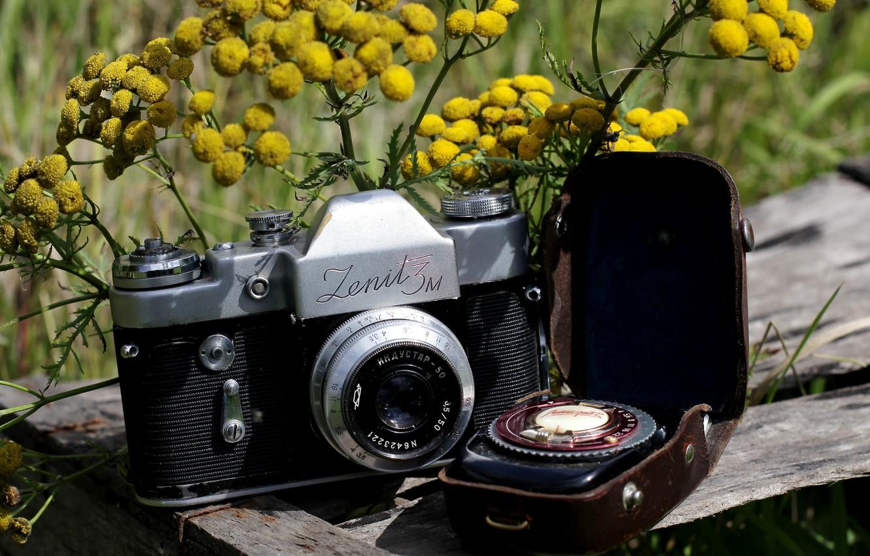 "Photo wallpaper flowers, background, the camera, mirror, case, Soviet, Mimosa, single lens reflex cameras, ""Zenit-3M"", ""Leningrad 2"", …"
