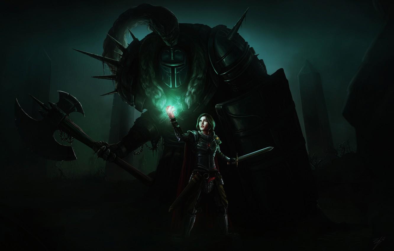 Photo wallpaper girl, light, fiction, sword, armor, art, axe