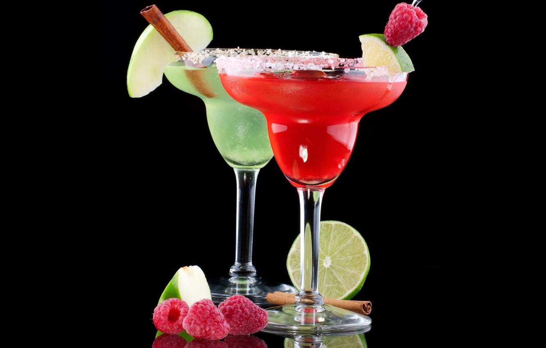 Photo wallpaper raspberry, background, black, apple, Apple, glasses, cocktail, lime, drink, cinnamon, drinks, fruits, raspberry, cocktails