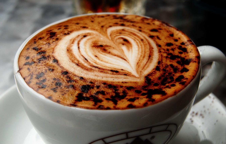 Photo wallpaper Macro, Figure, Heart, Coffee, Cup, Cappuccino